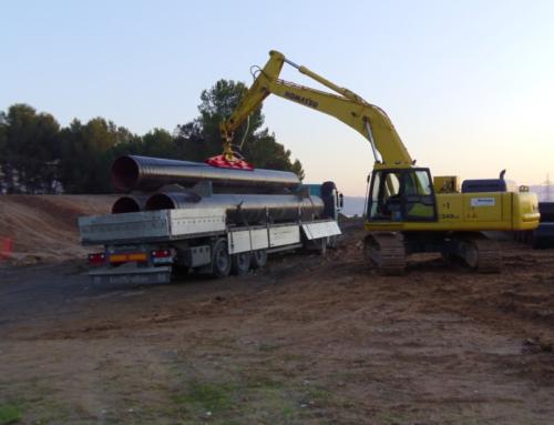 Instalación de tuberías para abastecimiento, riego y saneamiento: Transporte, recepción, descarga  y almacenaje de tubos